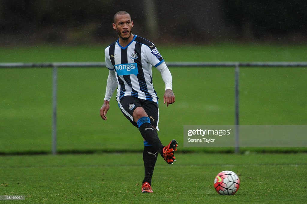 Yoan Gouffran of Newcastle passes the ball during the U21 Premier League Match between Newcastle United and West Bromwich Albion at Whitley Park on November 23, 2015, in Newcastle upon Tyne, England.