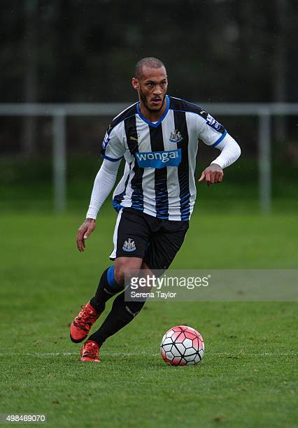Yoan Gouffran of Newcastle runs with the ball during the U21 Premier League Match between Newcastle United and West Bromwich Albion at Whitley Park...