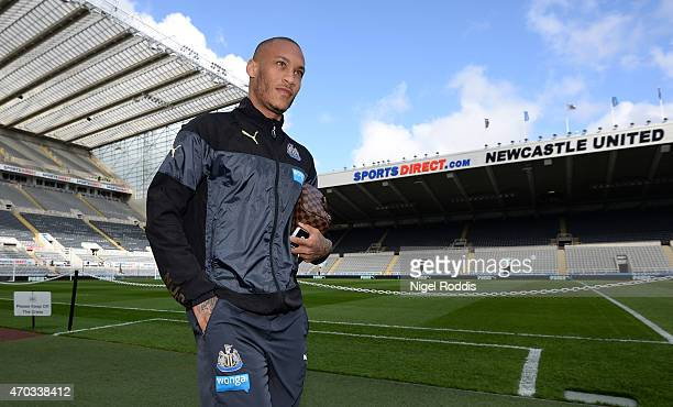 Yoan Gouffran of Newcastle United arrives ahead of the Barclays Premier League match between Newcastle United and Tottenham Hotspur at St James' Park...