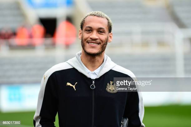 Yoan Gouffran of Newcastle United arrives for the Sky Bet Championship match between Newcastle United and Wigan Athletic at StJames' Park on April 1...