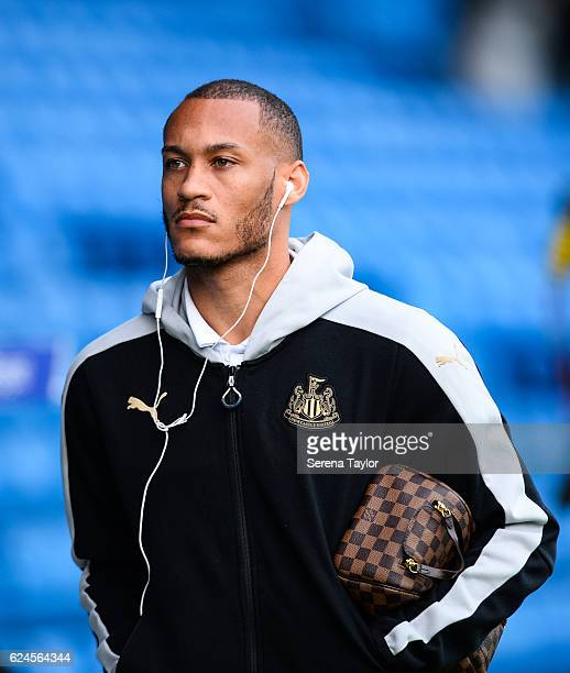 Yoan Gouffran of Newcastle United arrives to Elland Road prior to the Sky Bet Championship Match between Leeds United and Newcastle United at Elland...