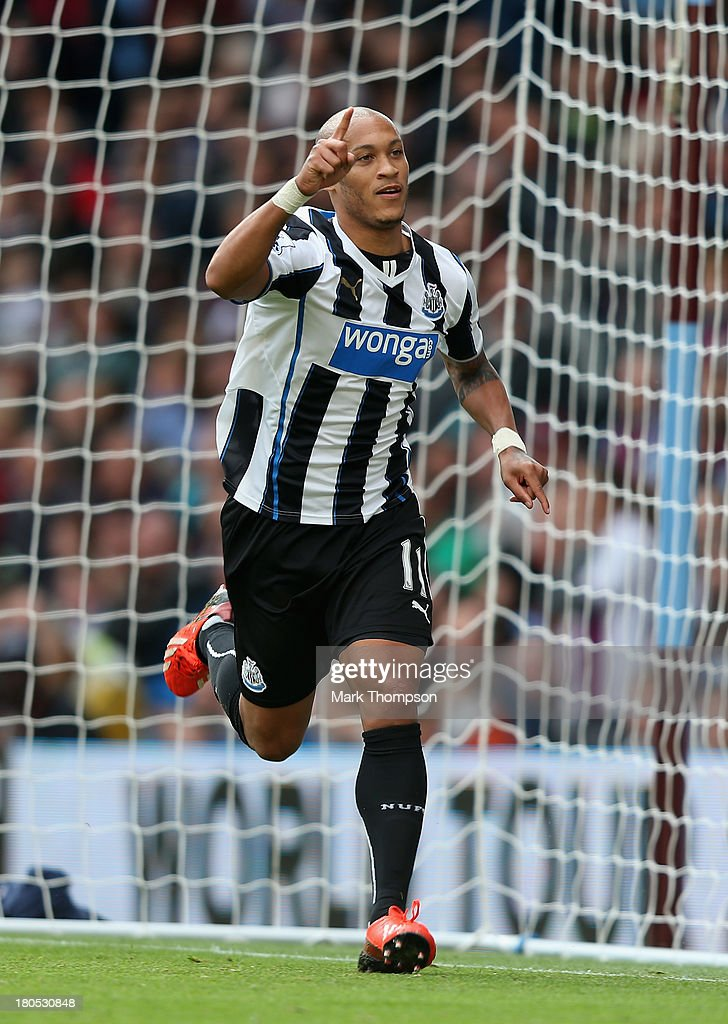 Yoan Gouffran of Newcastle United celebrates after scoring their second goal during the Barclays Premier League match between Aston Villa and Newcastle United at Villa Park on September 14, 2013 in Birmingham, England.
