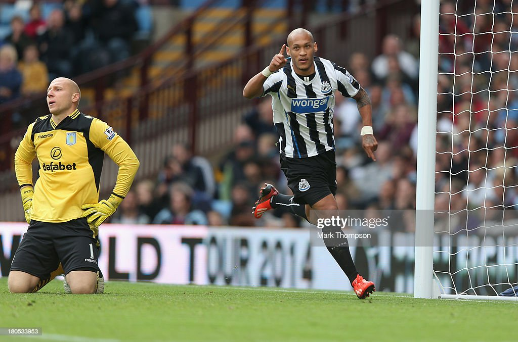 Yoan Gouffran of Newcastle United celebrates his goal during the Barclays Premier League match between Aston Villa and Newcastle United at Villa Park on September 14, 2013 in Birmingham, England.