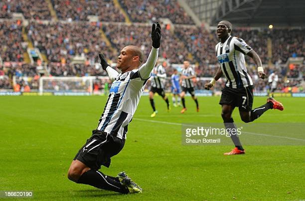 Yoan Gouffran of Newcastle United celebrates scoring their first goal during the Barclays Premier League match between Newcastle United and Chelsea...