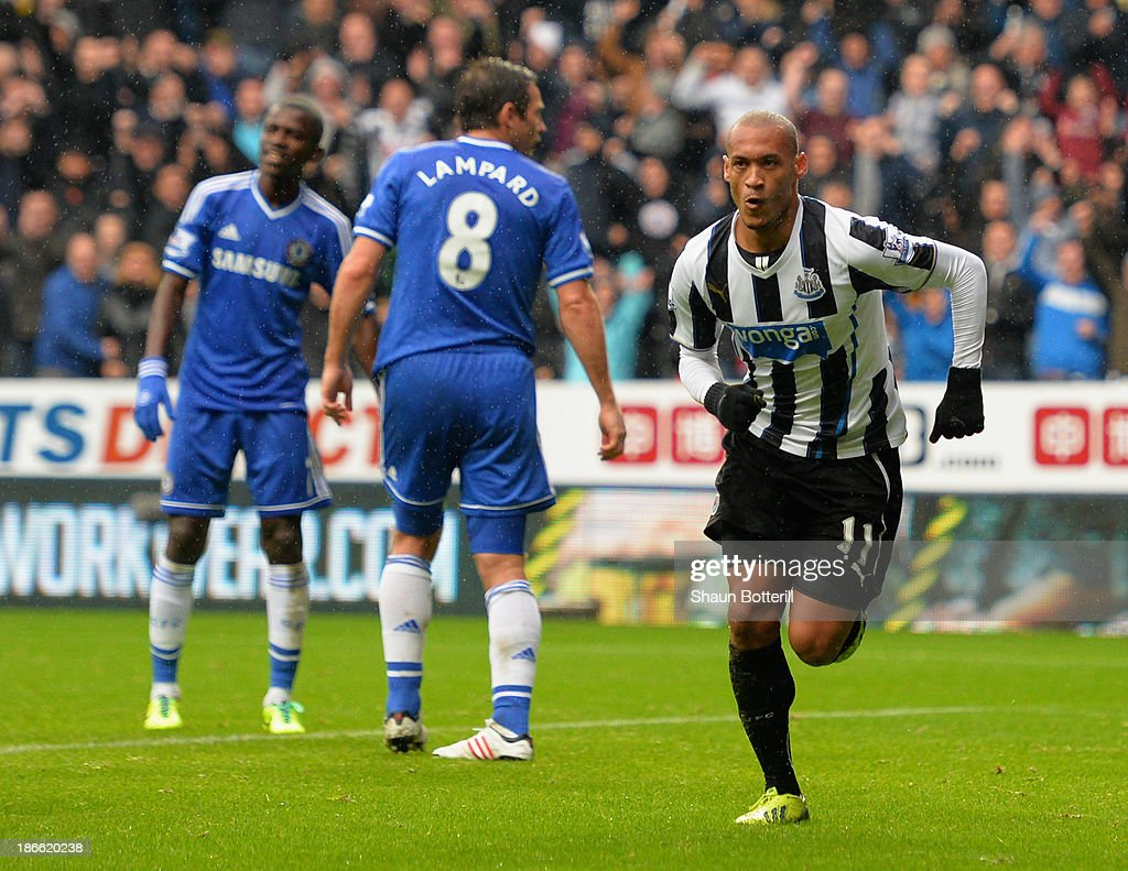 Yoan Gouffran of Newcastle United celebrates scoring their first goal during the Barclays Premier League match between Newcastle United and Chelsea at St James' Park on November 2, 2013 in Newcastle upon Tyne, England.