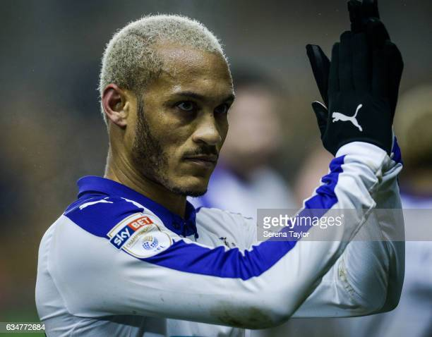 Yoan Gouffran of Newcastle United claps the fans after Newcastle win the Sky Bet Championship match between Wolverhampton Wanderers and Newcastle...