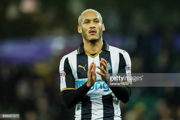 Yoan Gouffran of Newcastle United claps the fans during the Sky Bet Championship match between Norwich City and Newcastle United at Carrow Road on...