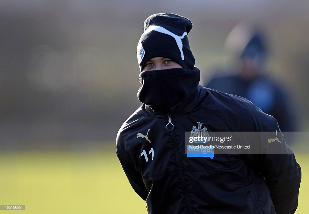 Yoan Gouffran of Newcastle United during a training session at The Newcastle United Training Centre on December 11, 2014 in Newcastle upon Tyne, England.