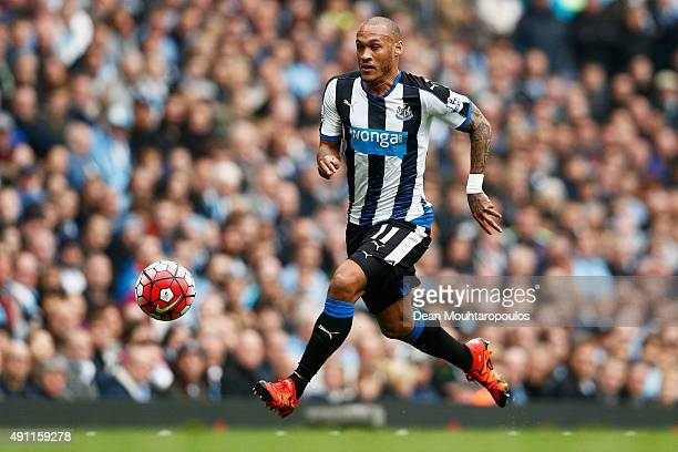 Yoan Gouffran of Newcastle United in action during the Barclays Premier League match between Manchester City and Newcastle United at Etihad Stadium...