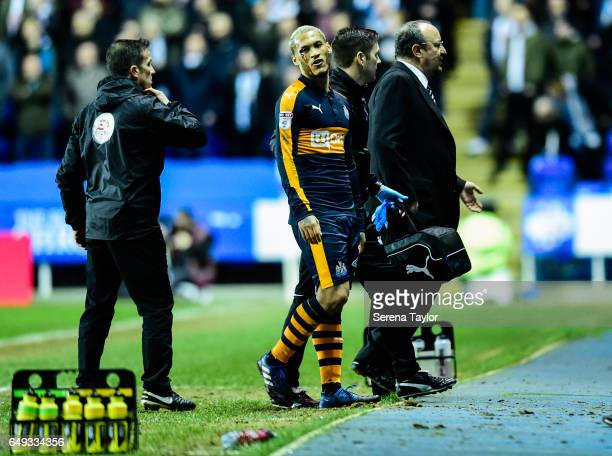 Yoan Gouffran of Newcastle United is substituted after he receives an injury to his eye during the Sky Bet Championship Match between Reading and...