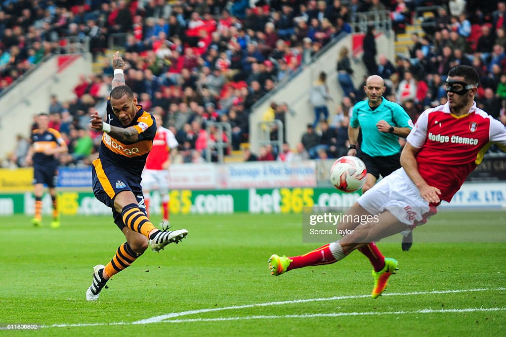 Yoan Gouffran of Newcastle United (20) strikes the ball during the Sky Bet Championship match between Rotherham United and Newcastle United at The New York Stadium on October 1, 2016 in Rotherham, England.