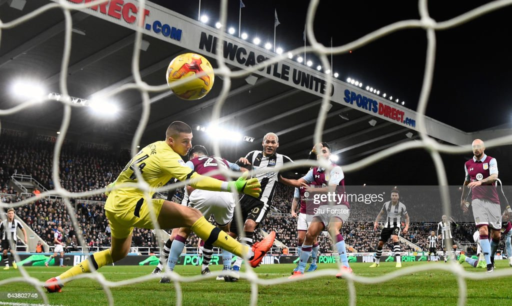 Yoan Gouffran scores the opening goal for Newcastle during the Sky Bet Championship match between Newcastle United and Aston Villa at St James' Park on February 20, 2017 in Newcastle upon Tyne, England.