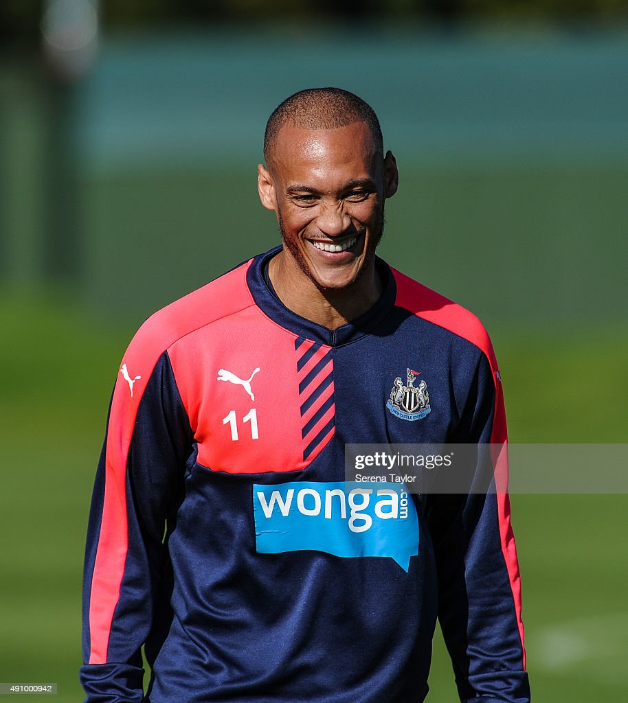 Yoan Gouffran smiles during the Newcastle United Training session at The Newcastle United Training Centre on October 2, 2015, in Newcastle upon Tyne, England.