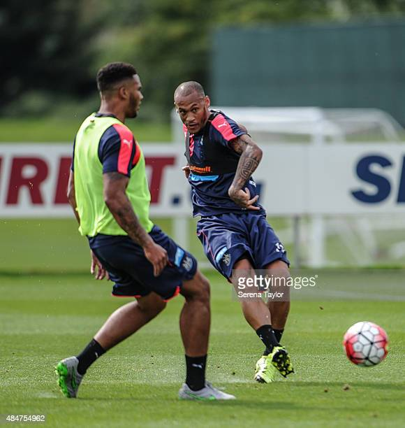Yoan Gouffran strikes the ball during a Newcastle United training session at The Newcastle United Training Centre on August 21 in Newcastle upon Tyne...