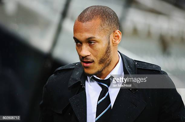 Yoan Gouffranof Newcastle United arrives prior to the Barclays Premier League match between Newcastle United and Everton at St James' Park on...