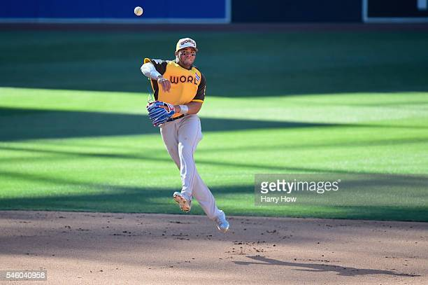Yoan Moncada of the Boston Red Sox and the World Team fields a ball during the SiriusXM AllStar Futures Game at PETCO Park on July 10 2016 in San...