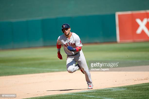 Yoan Moncada of the Boston Red Sox runs the bases during the game against the Oakland Athletics at the Oakland Coliseum on September 4 2016 in...