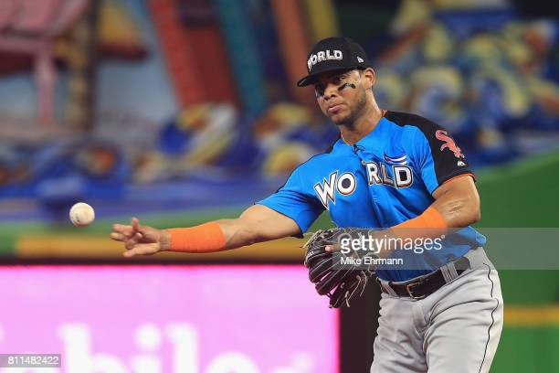 Yoan Moncada of the Chicago White Sox and the World Team fields a ball against the US Team during the SiriusXM AllStar Futures Game at Marlins Park...