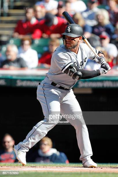 Yoan Moncada of the Chicago White Sox bats against the Cleveland Indians in the first inning at Progressive Field on October 1 2017 in Cleveland Ohio...