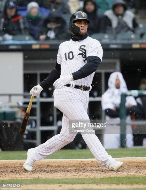 Yoan Moncada of the Chicago White Sox bats against the Detroit Tigers during the Opening Day home game at Guaranteed Rate Field on April 5 2018 in...
