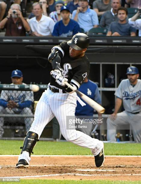 Yoan Moncada of the Chicago White Sox bats against the Los Angeles Dodgers during the second inning making his major league debut on July 19 2017 at...