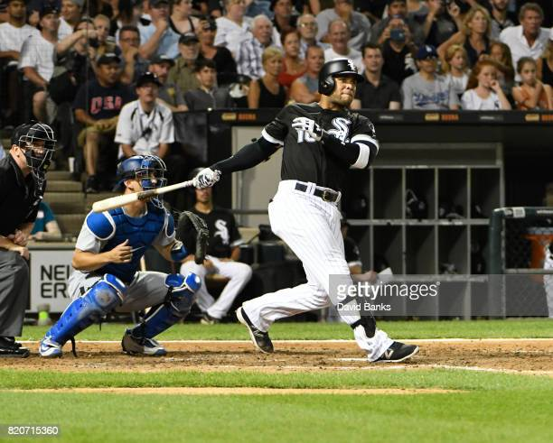 Yoan Moncada of the Chicago White Sox bats against the Los Angeles Dodgers during the fourth inning on July 19 2017 at Guaranteed Rate Field in...