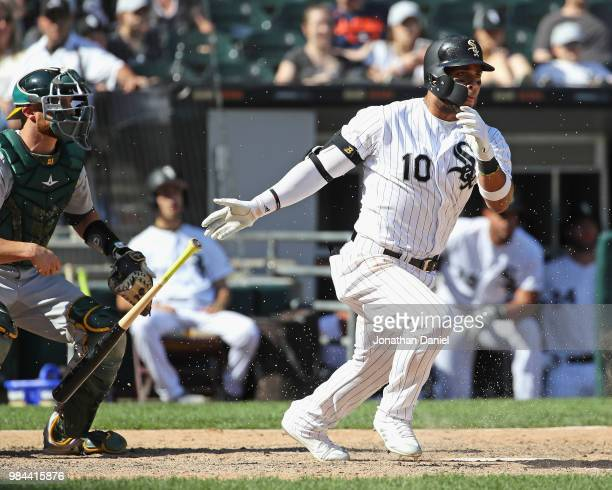 Yoan Moncada of the Chicago White Sox bats against the Oakland Athletics at Guaranteed Rate Field on June 23 2018 in Chicago Illinois The Athletics...