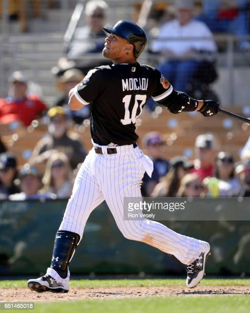 Yoan Moncada of the Chicago White Sox bats during a spring training game against the San Diego Padres on March 6 2017 at Camelback Ranch in Glendale...