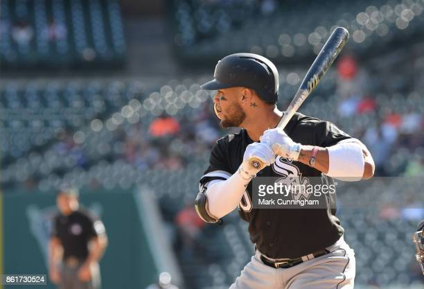 Yoan Moncada of the Chicago White Sox bats during the game against the Detroit Tigers at Comerica Park on September 14 2017 in Detroit Michigan The...