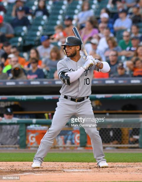 Yoan Moncada of the Chicago White Sox bats during the game against the Detroit Tigers at Comerica Park on September 16 2017 in Detroit Michigan The...