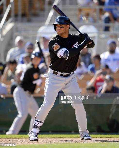 Yoan Moncada of the Chicago White Sox bats during the spring training game against the Los Angeles Dodgers on February 25 2017 at Camelback Ranch in...
