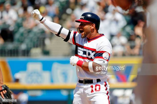 Yoan Moncada of the Chicago White Sox celebrates after hitting a 3run RBI double against the Oakland Athletics during the sixth inning at Guaranteed...
