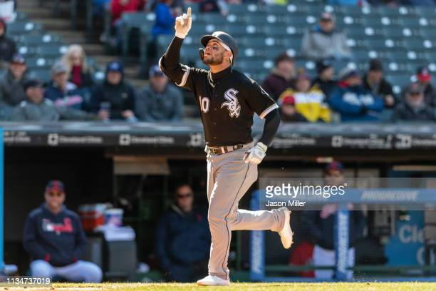 Yoan Moncada of the Chicago White Sox celebrates after hitting a two run home run during the eighth inning against the Cleveland Indians at...