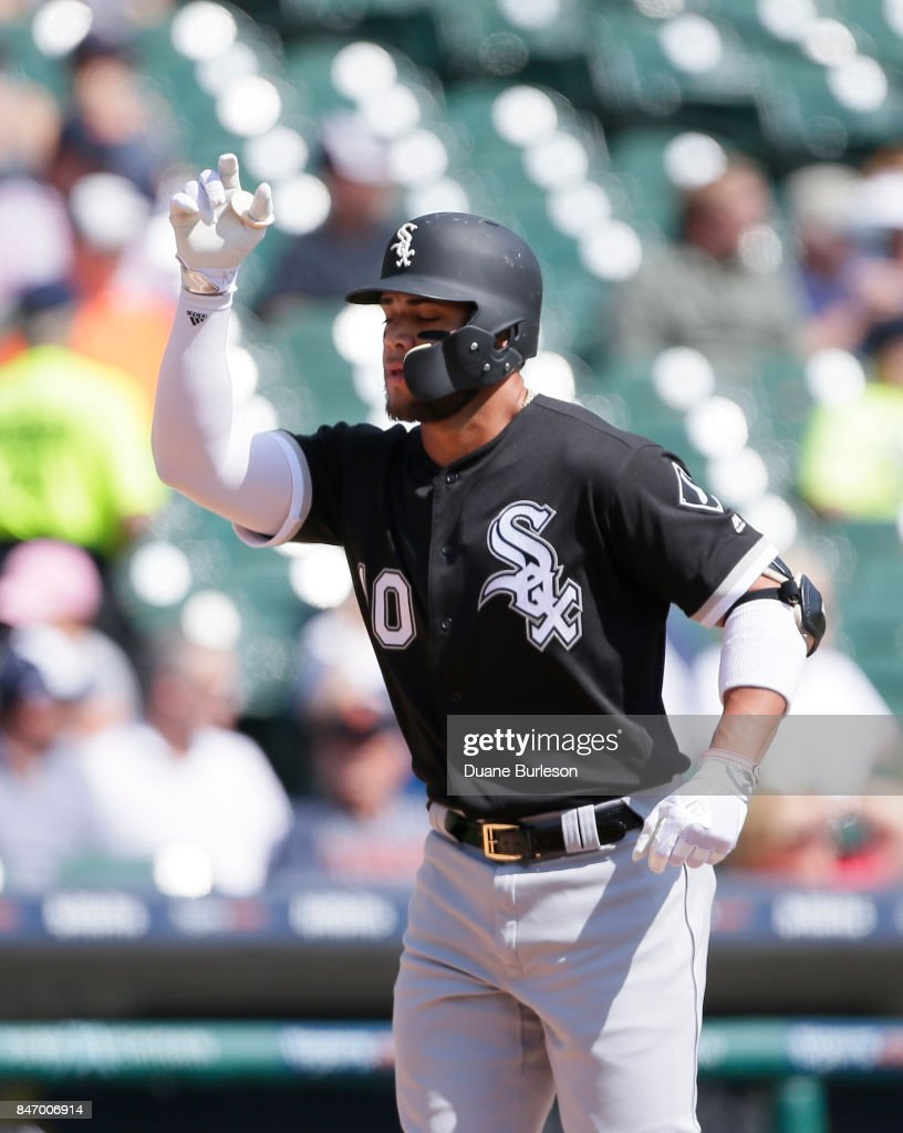Yoan Moncada #10 of the Chicago White Sox celebrates his solo home run against the Detroit Tigers during the first inning at Comerica Park on September 14, 2017 in Detroit, Michigan.