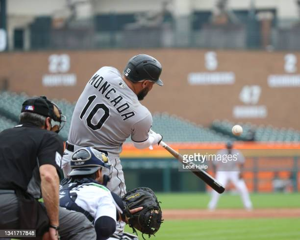 Yoan Moncada of the Chicago White Sox doubles to center field during the fourth inning of the game against the Detroit Tigers at Comerica Park on...