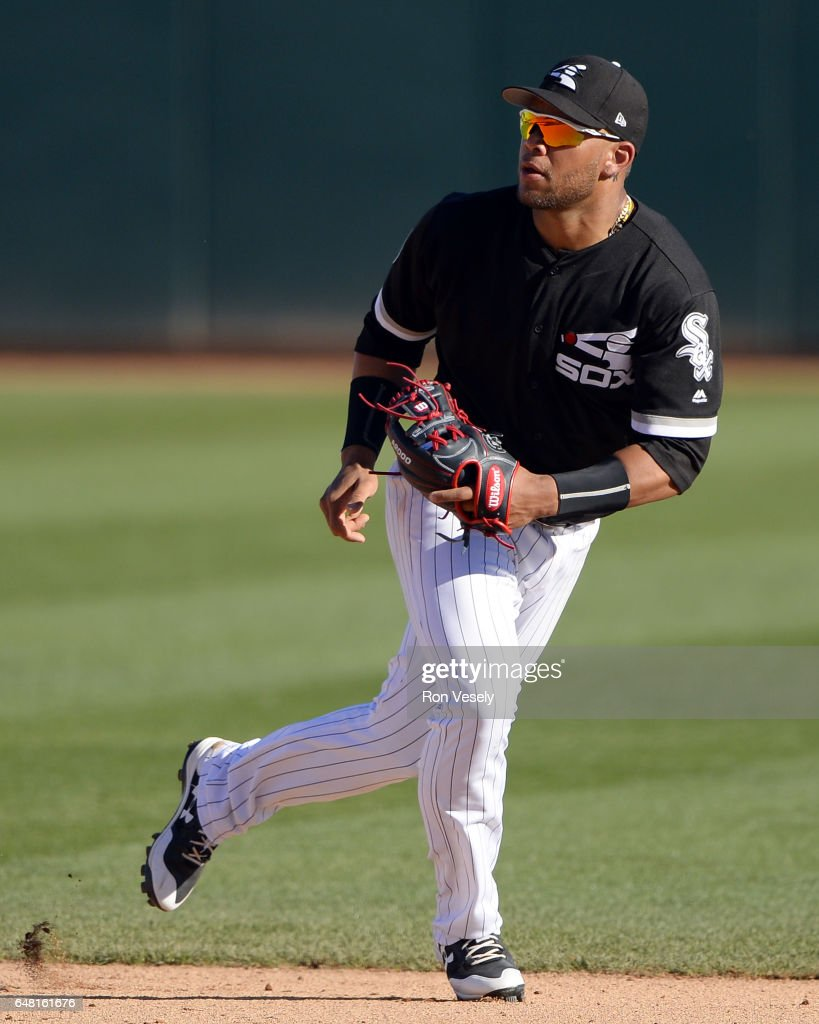 Yoan Moncada #10 of the Chicago White Sox fields against the Arizona Diamondbacks during a spring training game on March 1, 2017 at Camelback Ranch in Glendale Arizona.