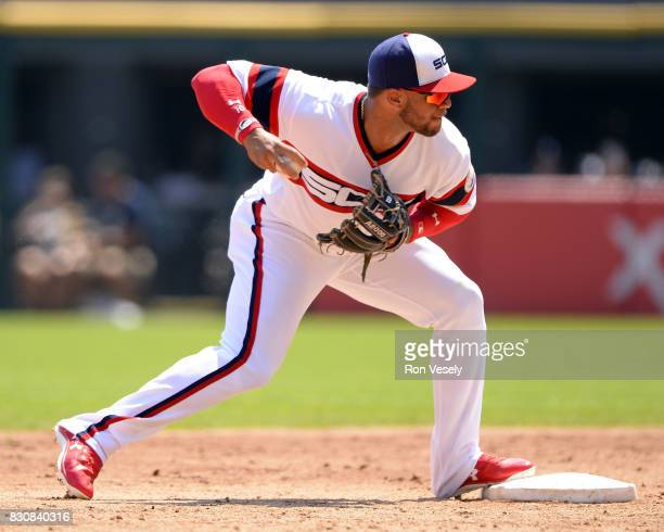 Yoan Moncada of the Chicago White Sox fields against the Cleveland Indians on July 31 2017 at Guaranteed Rate Field in Chicago Illinois The White Sox...