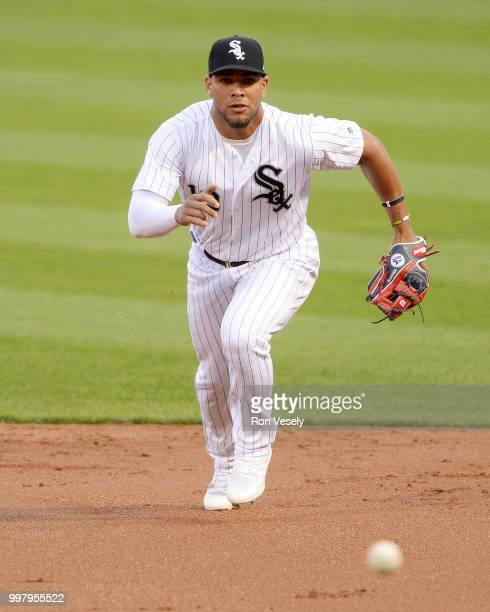 Yoan Moncada of the Chicago White Sox fields against the St Louis Cardinals on July 10 2018 at Guaranteed Rate Field in Chicago Illinois