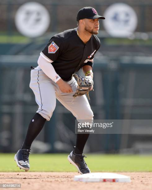 Yoan Moncada of the Chicago White Sox fields during the game against the Los Angeles Dodgers on February 23 2018 at Camelback Ranch in Glendale...
