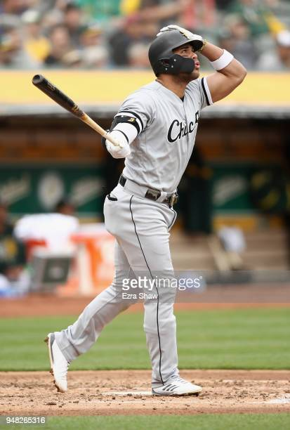 Yoan Moncada of the Chicago White Sox hits a grand slam home run in the second inning against the Oakland Athletics at Oakland Alameda Coliseum on...