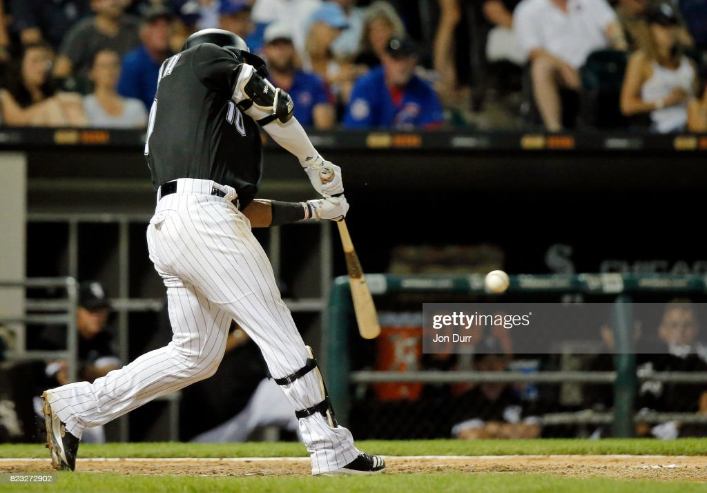 Yoan Moncada #10 of the Chicago White Sox hits a home run against the Chicago Cubs during the seventh inning at Guaranteed Rate Field on July 26, 2017 in Chicago, Illinois.