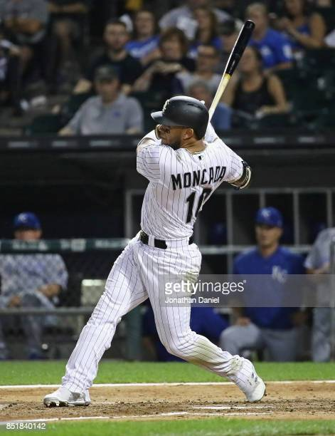 Yoan Moncada of the Chicago White Sox hits a two run home run in the 4th inning against the Kansas City Royals at Guaranteed Rate Field on September...