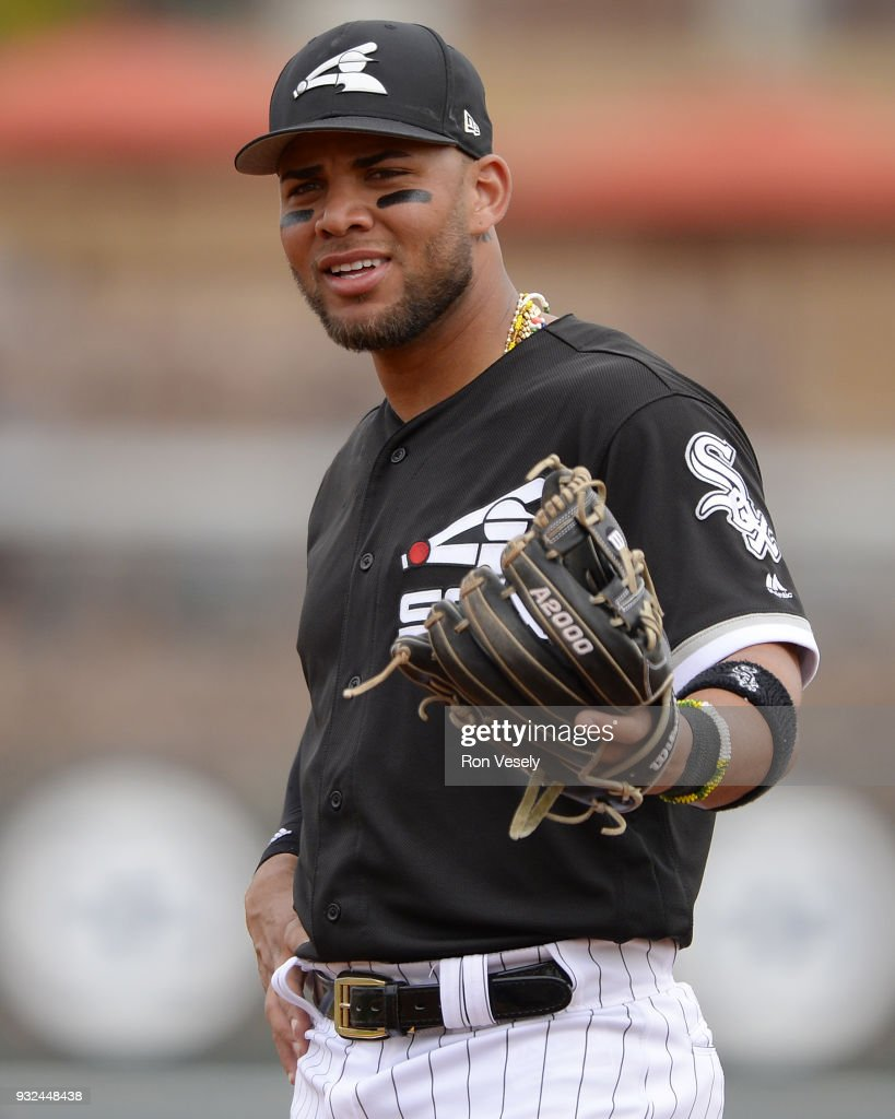 Yoan Moncada #10 of the Chicago White Sox looks on against the Cincinnati Reds on March 7, 2018 at Camelback Ranch in Glendale Arizona.