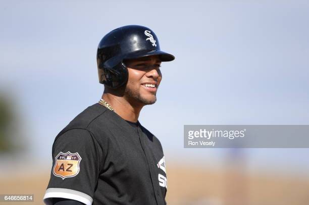 Yoan Moncada of the Chicago White Sox looks on during a spring training game against the Seattle Mariners on February 26 2017 at Camelback Ranch in...