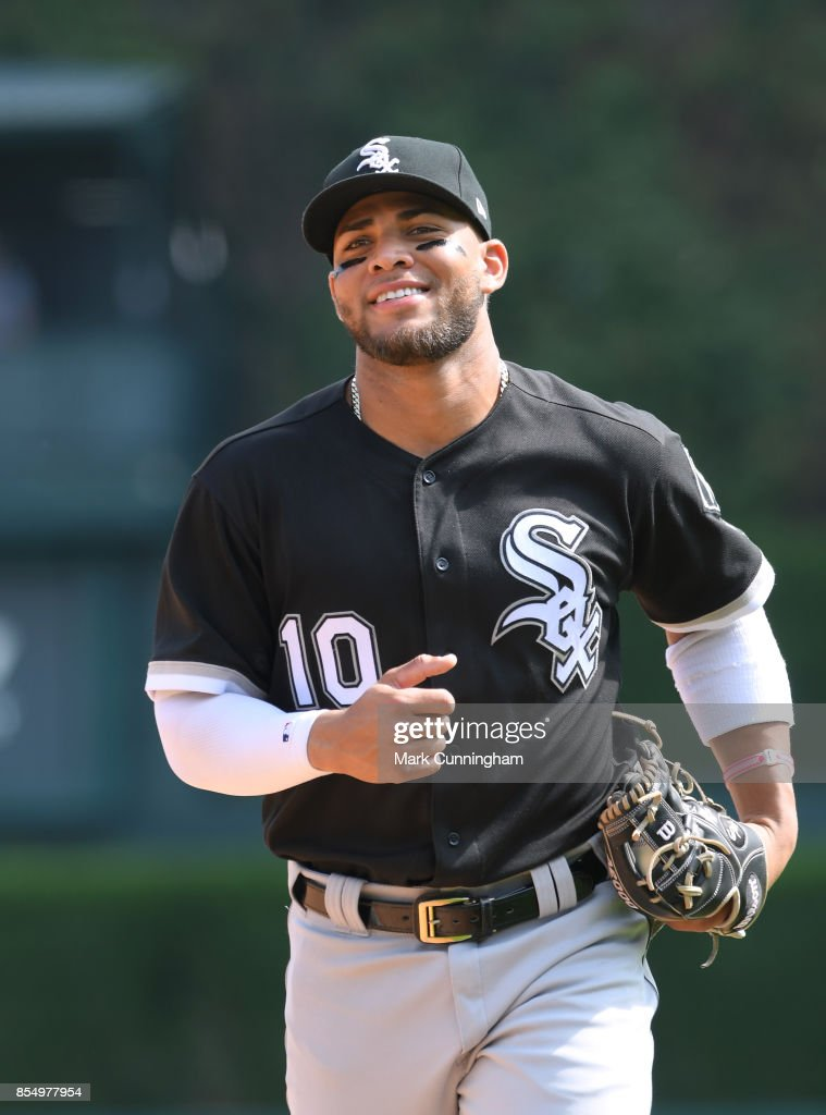 Yoan Moncada #10 of the Chicago White Sox looks on during the game against the Detroit Tigers at Comerica Park on September 14, 2017 in Detroit, Michigan. The White Sox defeated the Tigers 17-7.
