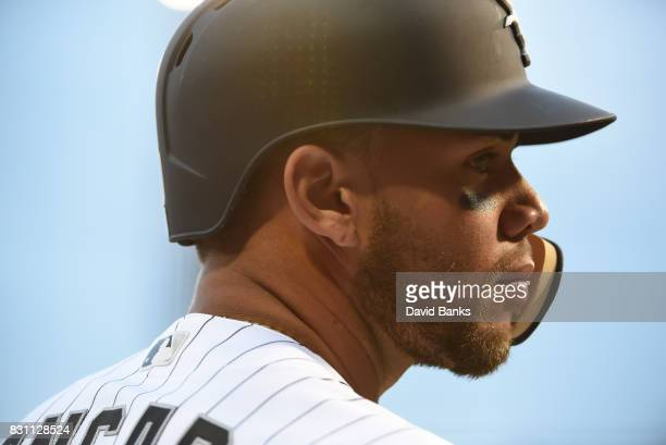 Yoan Moncada of the Chicago White Sox prepares to bat against the Kansas City Royals during the first inning on August 11 2017 at Guaranteed Rate...