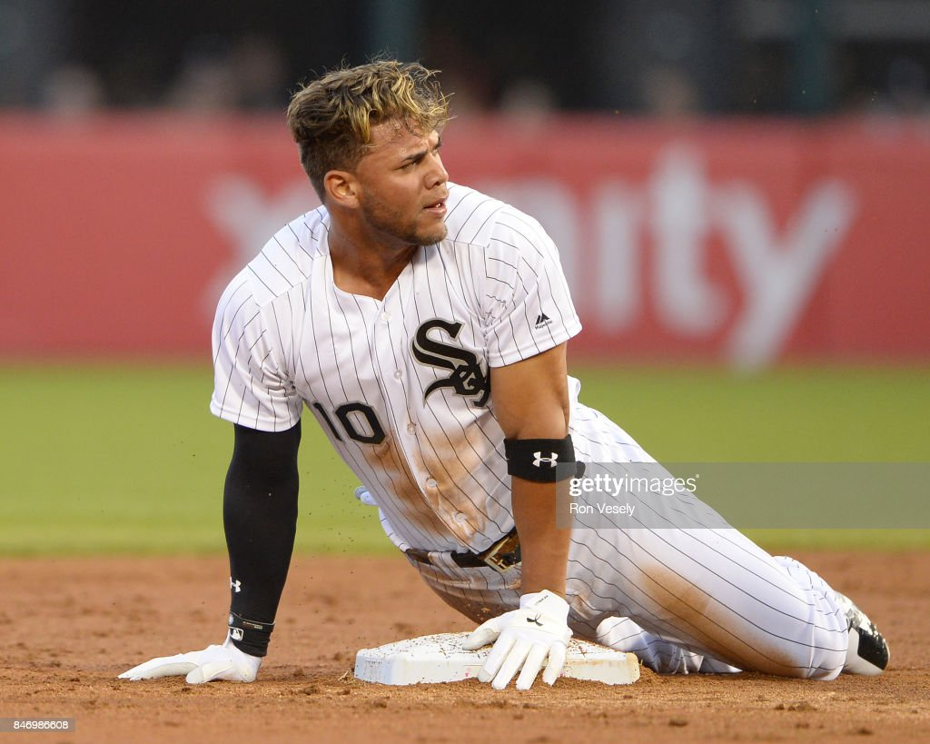 Yoan Moncada #10 of the Chicago White Sox reacts after being called out while attempting to steal second base against the Cleveland Indians on July 28, 2017 at Guaranteed Rate Field in Chicago, Illinois.