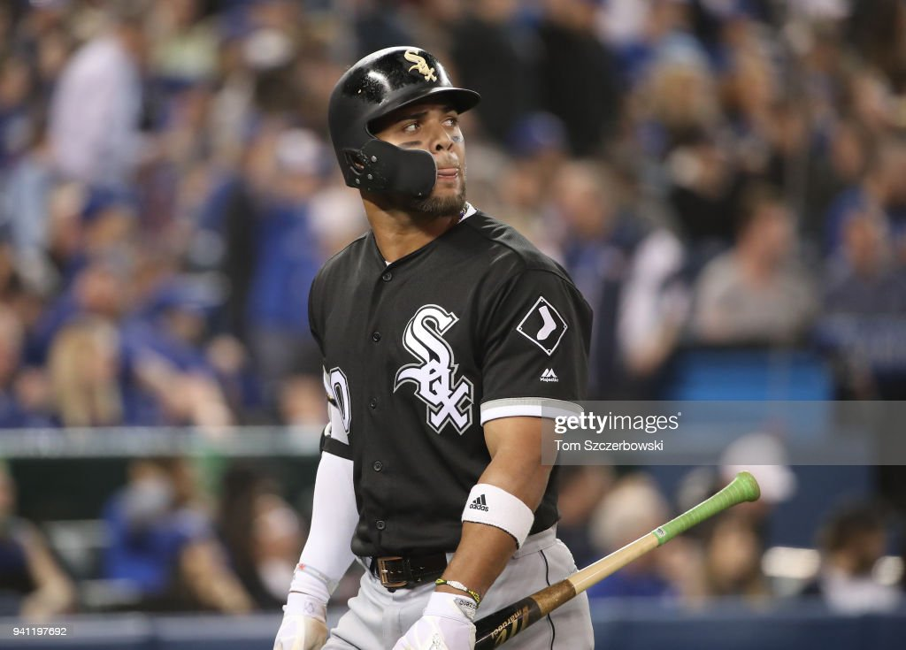 Yoan Moncada #10 of the Chicago White Sox reacts after flying out to end the seventh inning during MLB game action against the Toronto Blue Jays at Rogers Centre on April 2, 2018 in Toronto, Canada.