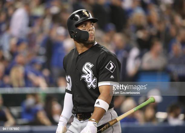 Yoan Moncada of the Chicago White Sox reacts after flying out to end the seventh inning during MLB game action against the Toronto Blue Jays at...