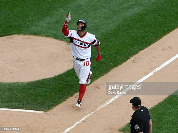 Yoan Moncada of the Chicago White Sox reacts after hitting a home run against the Kansas City Royals during the fifth inning on July 15 2018 at...